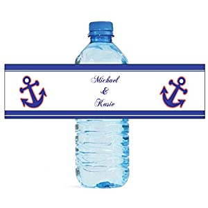 "100 Anchor Navy with Coral Wedding Anniversary Engagement Party Water Bottle Labels 8""x2"""
