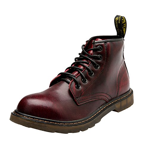 QCO Men's Flat Lace Up Genuine Leather Winter Ankle Hiking Combat Boots