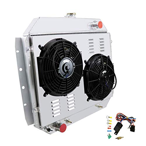 CoolingCare 3 Row Aluminum Radiator+ Shroud +Fans (2x12 Inches) for 1966-79 Ford F100 F150 F250 F350 Pickup Truck -