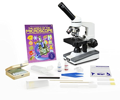 Parco Scientific Monocular Elementary Level Microscope, Mechanical Stage, LED, Rechargeable Battery, Microscope Book, Microscope Discovery Kit, 25 Prepared Slides Set, Free Gift Package ($10 Value) by Parco Scientific