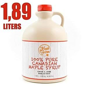 Jarabe de arce Grado A (Dark, Robust taste) - 1.89 litro (2.50 Kg) - Miel de arce - Sirope de Arce - Original maple syrup