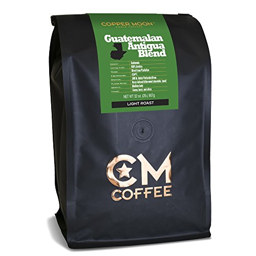 Guatemala Antigua Green Coffee - Copper Moon Guatemalan Antigua Blend, Whole Bean Coffee, 2 Pound Bag, Light Roast Coffee from Guatemala, Rich, Smooth, and Mild, with A Nutty Finish