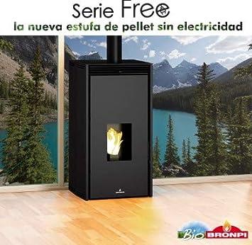 BRONPI Estufa DE Pellet SIN Electricidad Modelo Free 6 KW Negro: Amazon.es: Bricolaje y herramientas