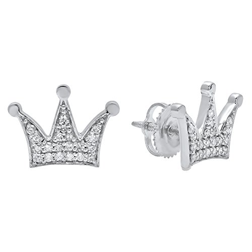 1/5 Earrings Diamond Ct Fancy - Dazzlingrock Collection 0.20 Carat (ctw) 10K Round White Diamond Ladies Crown Earrings 1/5 CT, White Gold