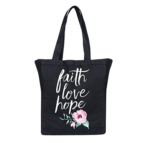 Faith Love Hope Painted Flowers-Women's Canvas Tote Bag by Air Waves
