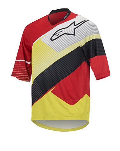 Alpinestars Men's Depth 3/4 Sleeve Jersey, Red/White/Acid Yellow, X-Large