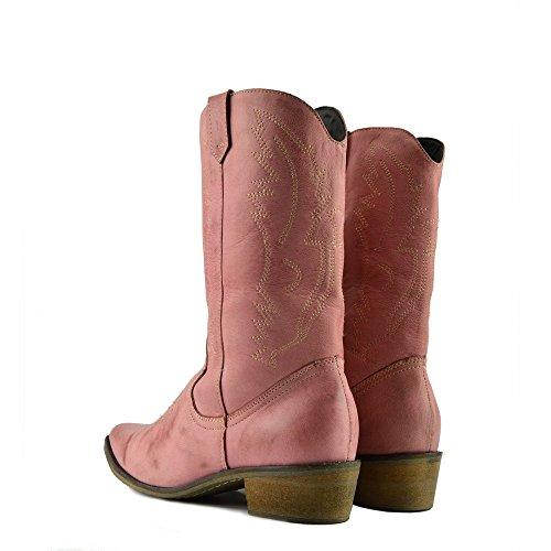 Dames Westerse Lederen Cowboy Laarzen Wees Teen Dames Brede Kuit Laarzen Roze