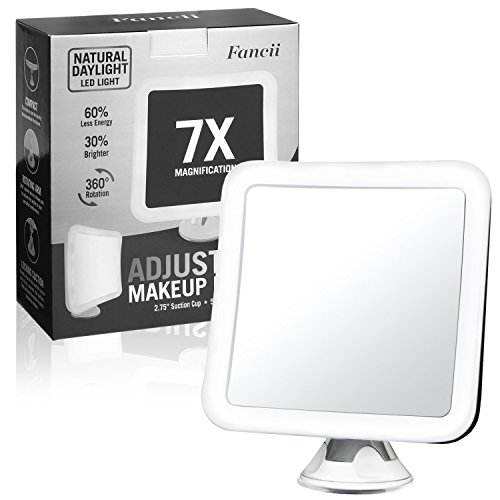 Fancii 7X Magnifying LED Lighted Vanity Makeup Mirror with Strong Suction Cup - 6.5' wide, Natural Daylight, Cordless Portable Mirror with Light (Square)