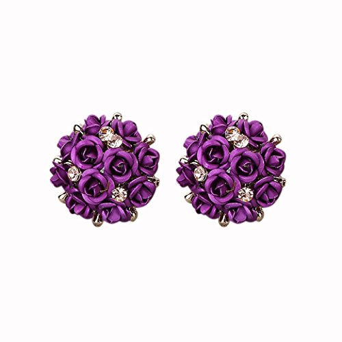 Women Jewelry ,AIMTOPPY Fashion Bohemia Flower Rhinestone Earrings For Women Summer Style (purple, free) ()