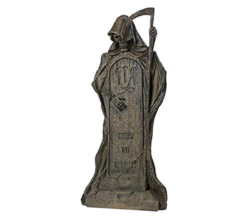 Rest in Premium Decorative Design Pieces Grim Reaper Halloween Tombstone Gothic Decor Garden Graveyard Statue, 25 Inch, Polyresin, Greystone Garden Patio Décor Backyard Outdoor