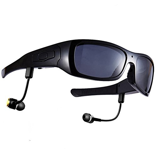Forestfish Bluetooth Sunglasses with Camera 8GB SD Card HD 720P Video Recorder Camera Glasses Headset for IOS Android Smartphone Polarized Sunglasses UV400, Black