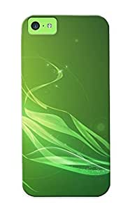 For Iphone Case, High Quality Green Translucent Silk Curves For Iphone 5c Cover Cases / Nice Case For Lovers