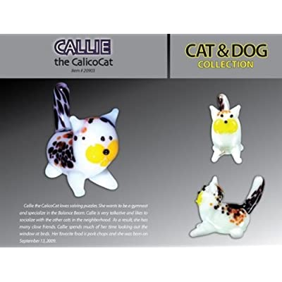 Looking Glass Callie Calico Cat Glass Figurine: Toys & Games