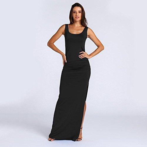 Huhu833 Damen Kleid Damen Ärmelloses ONeck Sommerkleid Casual ...