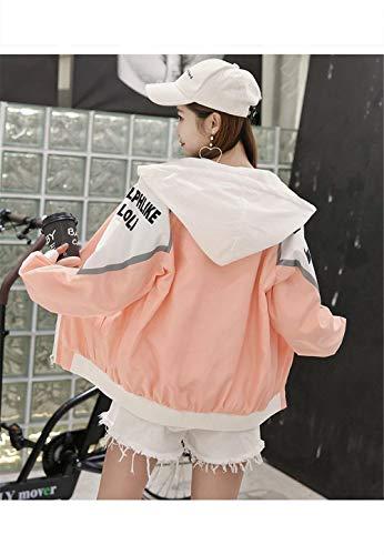 Carta Outerwear Hipster Talla Primavera Elegantes Rosa Capa Manga Larga Moda Otoño Coat Con Mujer Grande Abrigo Cremallera Capucha Chaqueta Anchas Ocasional Impresión AOxqRwWTf