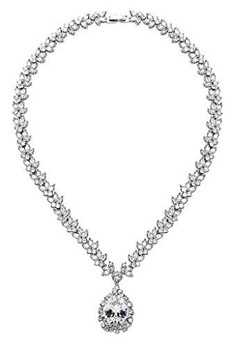 Gnzoe Rhodium Plated Womens Jewelry Maple Teardrop Heart CZ Diamond(Lab Created) Bib Statement Necklace,Silver