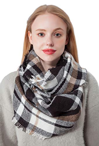 Black Plaid Infinity Scarf for Women Lightweight Fall Winter Loop Scarves for Gilrs (H1-BK)