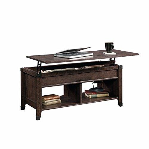 Sauder 420421 Carson Forge Lift-Top Coffee Table, L: 43.15'' x W: 19.45'' x H: 18.98'', Coffee Oak finish by Sauder