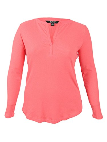 Lauren Ralph Lauren Women's Plus Size Split Neck Top (1X, Summer Peach)