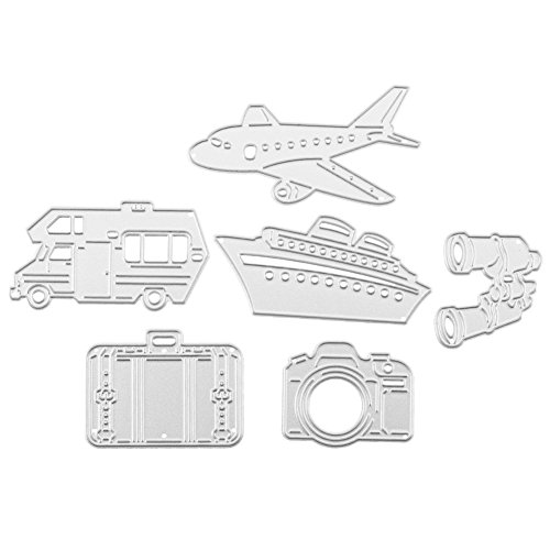 mikolotuk 6pcs Travel Tourism Theme World Map Plane Camera Cutting Dies Stencil Craft