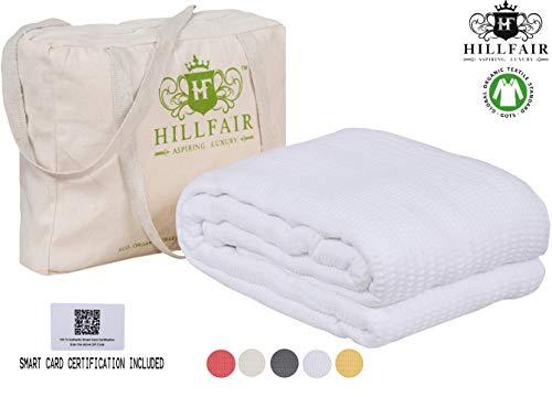 HILLFAIR 100% Certified Organic Cotton Blankets- King Size Bed Blankets- All Season Cotton Blanket- White King Size Cotton Blanket- Soft Cozy Multipurpose King Blankets- Organic Cotton Bed - White Organic Blanket