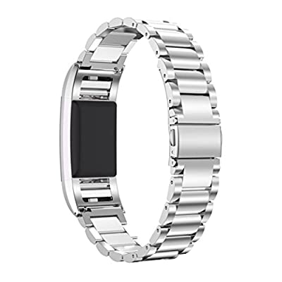 Fitbit Charge 2 Wrist Band, AnsTOP Stainless Steel Metal Replacement Smart Watch Band Bracelet with Folding Clasp for Fitbit Charge 2 (Sliver)