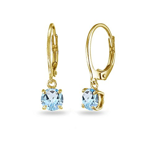 - LOVVE Yellow Gold Flashed Sterling Silver Blue Topaz 6mm Round Dangle Leverback Earrings