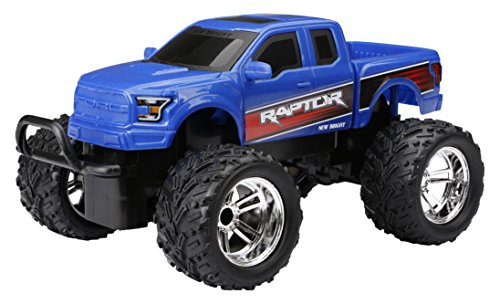 New Bright Chargers F/F Ford Raptor RC Vehicle Includes USB Cord & AA Batteries (1:18 Scale), Blue
