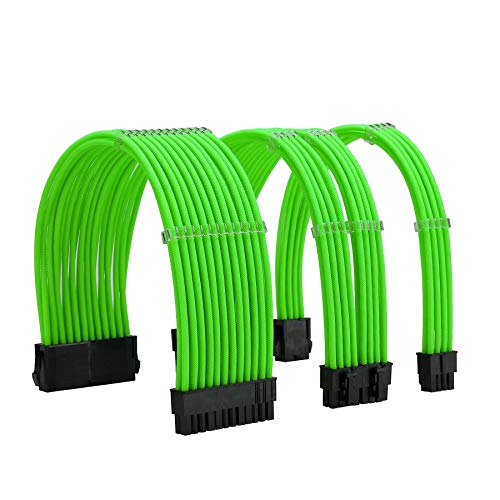 FormulaMod Sleeve Extension Power Supply Cable Kit 18AWG ATX 24P+ EPS 8-P+PCI-E8-P with Combs for PSU to Motherboard/GPU (Green)