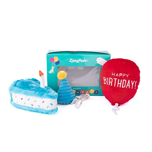 ZippyPaws - Birthday Box Gift for Dogs Squeaky Toy Set - 3 Toys