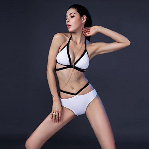Europeos y Americanos traje bikini blanco y negro Cuerpo Pecho pequeño vendaje reunir Beach Spa en traje de baño Trajes de Baño