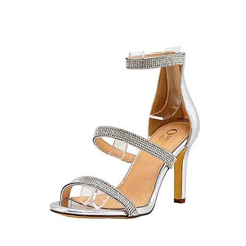 OJ Women's 3 Straps Strappy Heels Rhinestone Ankle Strap with Back Zipper for Wedding, Party (6, Silver Metallic)