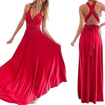7b2f47eeb8bd Mangetal Women Transformer Infinity Evening Dress Multi-Way Wrap Convertible  Halter Maxi Floor Long Dress High Elasticity: Amazon.co.uk: Clothing