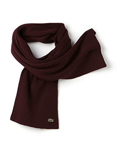 Lacoste Unisex Unisex Ribbed Moulin Wool Scarf Burgundy by Lacoste