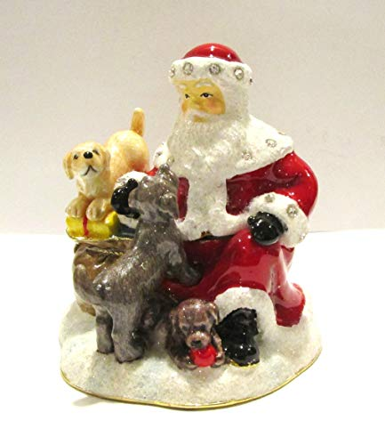 - Kubla Santa Claus w Puppies Jeweled Hinged Enamel Trinket Box Collectible