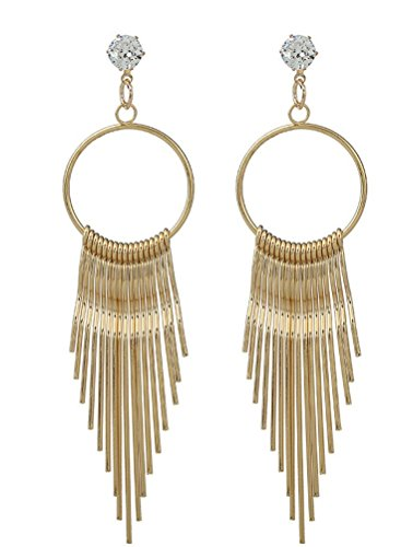 Crystal Hoop Dangle Clip (SunIfSnow Women Trendy Irregular Metal Long Tassel Hoop Dangle Earrings Golden)