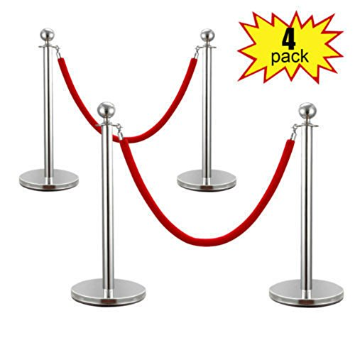 Price comparison product image 4PCS Velvet Rope Stanchion Silver Post Crowd Control Queue Line Barrier