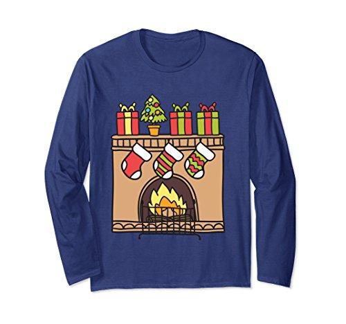 Jungle Man Costume Ideas (Unisex Brick Fireplace Christmas Xmas Cute T-shirt Awesome Gift 2XL Navy)