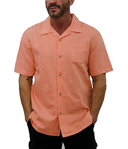 Short Fin Men's Short Sleeve Camp Linen Shirt (Large, Peach L8041) ()