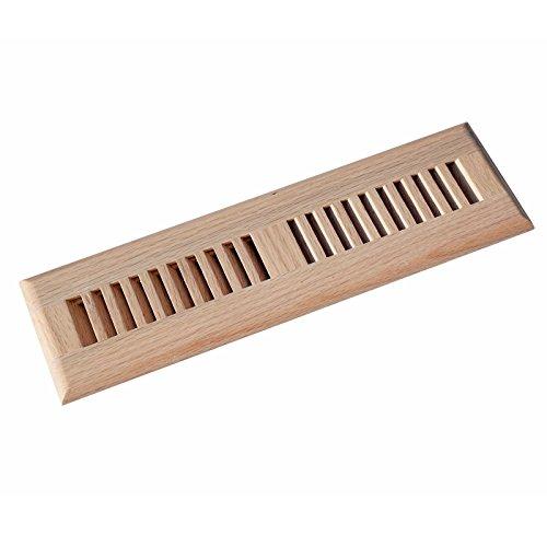 Inch Red Oak Hardwood Vent Floor Register Self Rimming Unfinished with Damper (Oak Wood Vent)