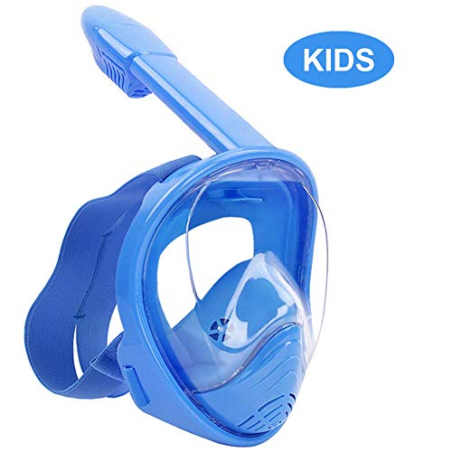 WSTOO Full Face Snorkel Mask,Foldable 180°Panoramic View Snorkel Mask,Anti-Fog Anti-Leak Design with Detachable Camera Mount for Adults & Kids (Black/Blue-Old, L/XL)