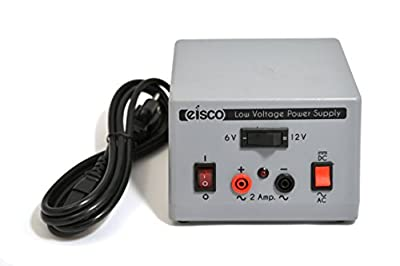 Eisco Labs Low Voltage Power Supply, AC/DC Switchable, 6V or 12V at 2 Amp Output - Banana Plug Terminals (110V Input)