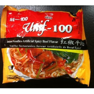 Unif-100 Instant Noodles -Artificial Spicy Beef Flavor 243.80oz/108g (24 Bags One Box)