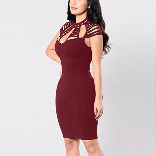 il fuori Vino Bodycon da donna corto Le Sysnant Clubwear donne da sexy rosso Vestito Vestiti sera vestito scavano mini BqXITHzxzw