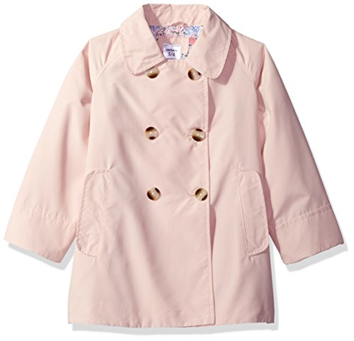 Carter's Little Girls' Double Breasted A-line Flare Trench, Pink, 5/6