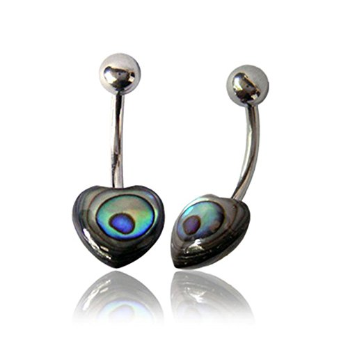 Earth Accessories Stainless Steel Organic Shell Belly-Button Navel Ring Piercing