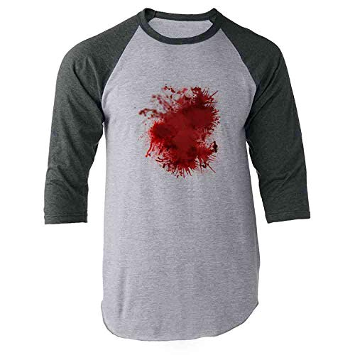 Pop Threads Blood Splattered Horror Bloody Halloween Costume Gray L Raglan Baseball Tee Shirt ()