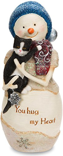 Pavilion - You Hug My Heart Snowman Figurine Holding Cat 5 -