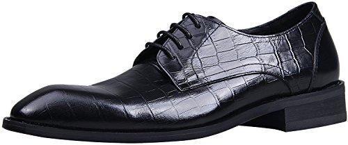 Crocodile Genuine Embossed Mens ELANROMAN Dress Leather Black Pattern Black Shoes Navy Oxfords Luxury Twnd0qpfd