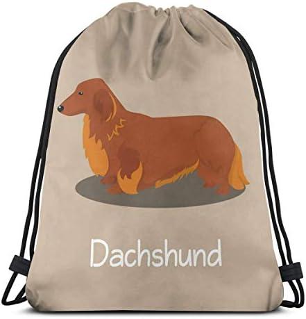 ダックスフンド犬漫画ユニセックス巾着バッグジムバックパックバッグトラベルバッグハイキングスイミングヨガ36 x 43cm